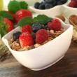 Muesli with fresh fruits and nuts — Stock Photo