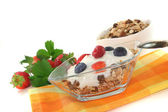 Muesli with yogurt, fresh fruit and nuts — Stock Photo