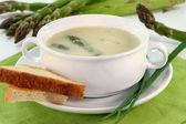 Asparagus cream soup — Stock Photo