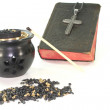 Frankincense with incense censer and Bible — Stock Photo