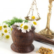 Stock Photo: Chamomile flowers with mortar and scales