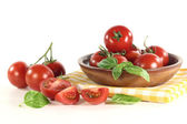 Tomatoes and basil — Stock Photo