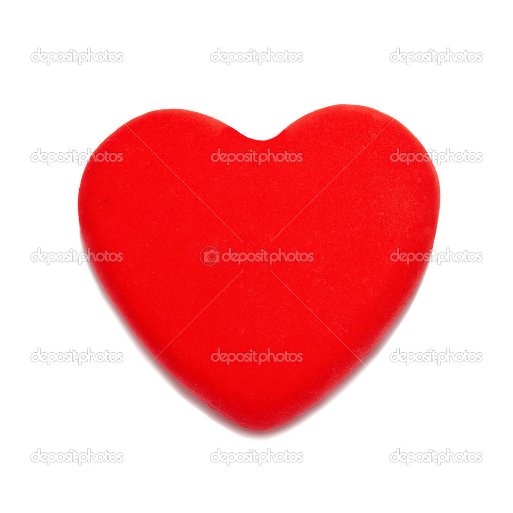Red valentine heart isolated on white.  Stock Photo #5822408