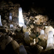 Stock Photo: Field of ice stalagmites in cave.