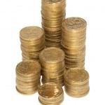 Column of golden coins — Stock Photo