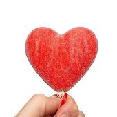 Corazón de san valentín en una mano. — Foto de Stock