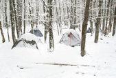 Winter tent camp — Stock Photo