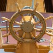 Old boat steering wheel — Stock Photo