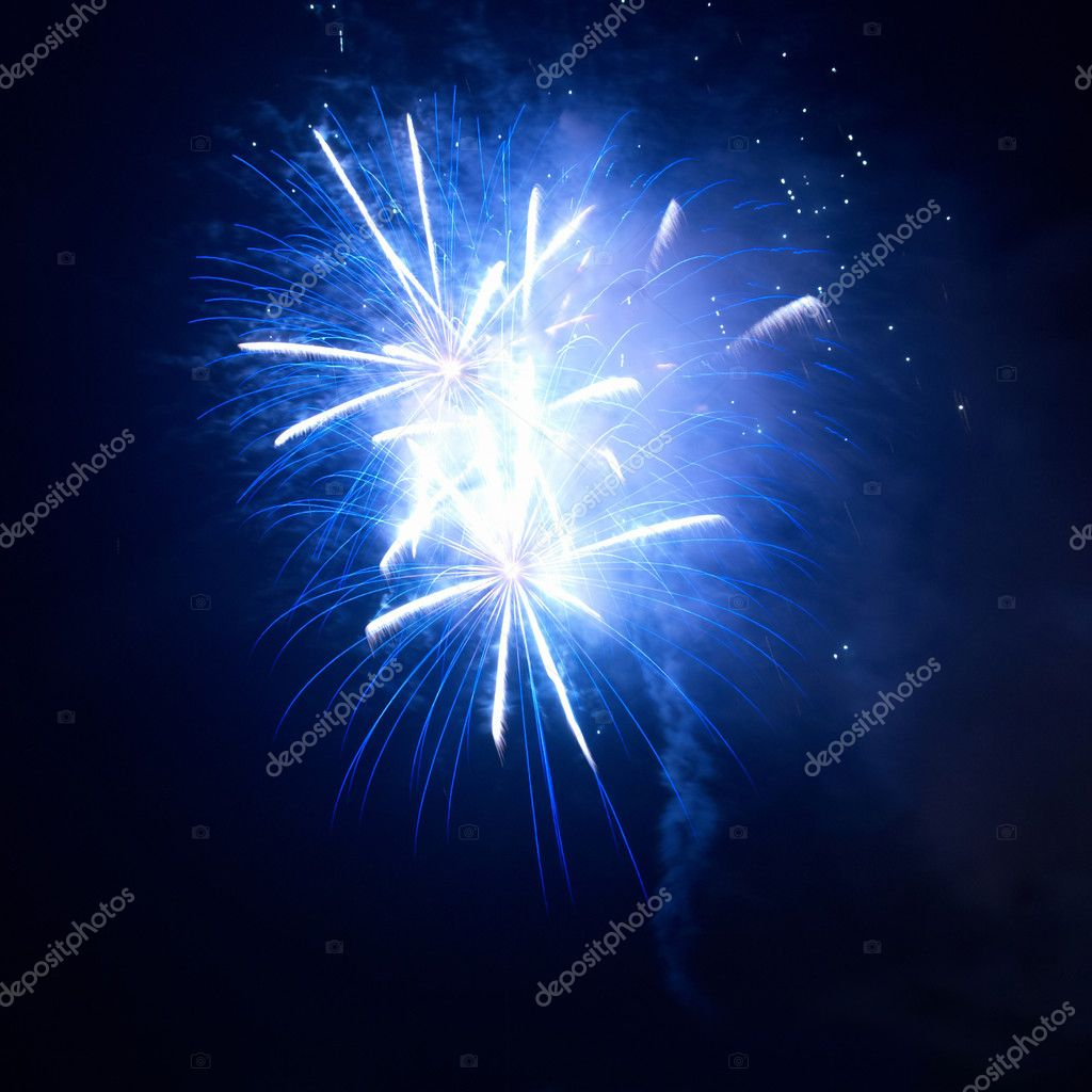 Blue fireworks on the black sky background — Stock Photo #5923047