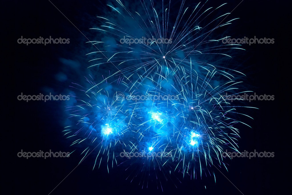 Blue fireworks on the black sky background  Stock Photo #5923155