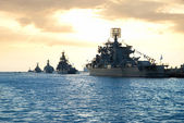 Row of military ships — Stock Photo