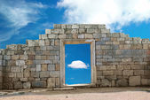 Wall with entrance — Stock Photo