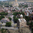 Foto de Stock  : Churches and domes of Tbilisi, view to historical part of capital of Re