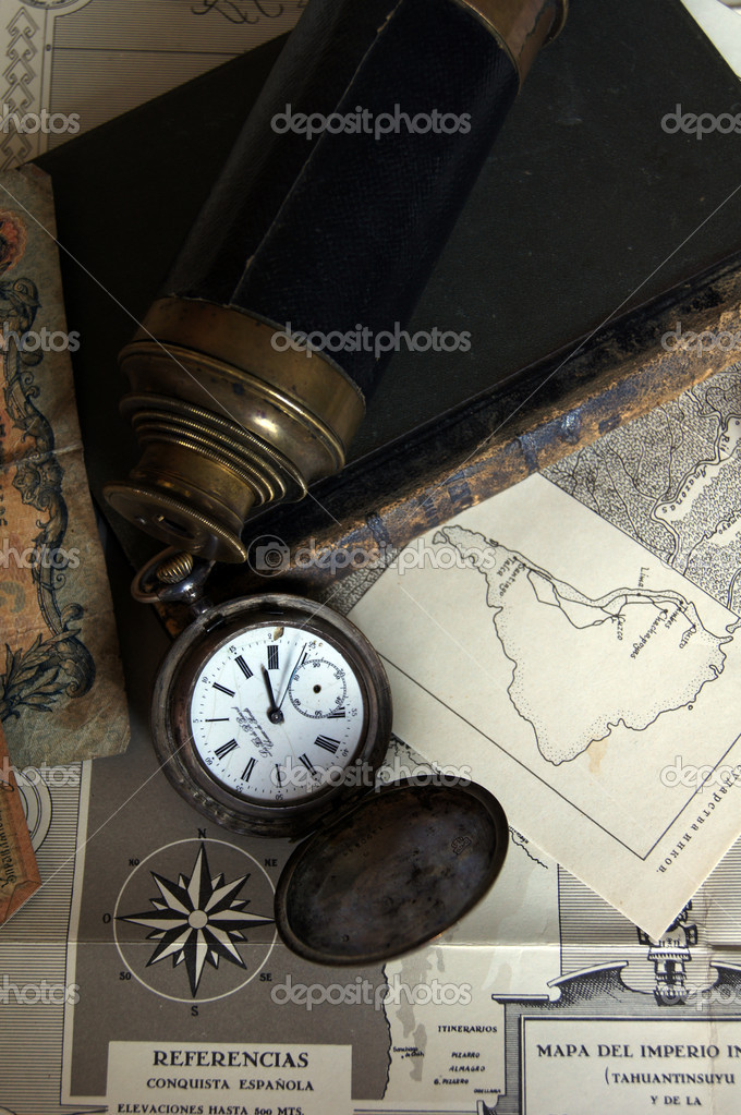 Antique Retro Pocket Clock and decoration objects  Stock Photo #6691653
