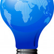 Light bulb with world map - Stok Vektr
