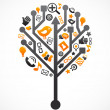Social network tree with media icons — Stock Vector