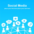 Social network background with media icons - Image vectorielle
