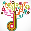 Social network tree with media icons - Stock Vector