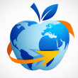 The global village - technology abstract apple — Imagens vectoriais em stock