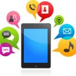 Vector smart phone with speech bubbles — Stock Vector