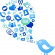 Blue bird with social media icons - Stock Vector