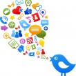 Blue bird with social media icons — Stock Vector