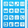 Blue vector smart phone social media icons — Stock Vector