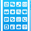 Blue vector smart phone social media icons - Stock Vector