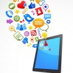 Vector smart phone social media icons — Stock Vector