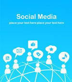 Fondo de la red social con los iconos de los medios de comunicación — Vector de stock