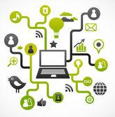 Sosyal ağ arka plan medya simgeler ile — Stok Vektör