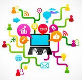 社会网络背景与媒体图标 — 图库矢量图片