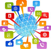 социальная сеть мир с медиа иконки — Cтоковый вектор