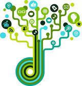 Medya simgeleri ile sosyal ağ ağacı — Stok Vektör