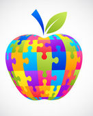Puzzle de apple — Vector de stock