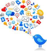 Blauwe vogel met social media iconen — Stockvector