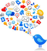 Blue bird with social media icons — Stockvector