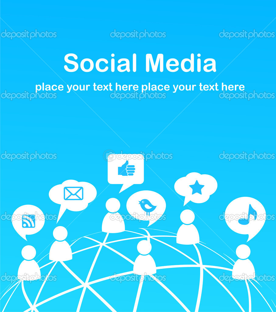 Social network background with media icons, vector illustration — Stock Vector #5718394
