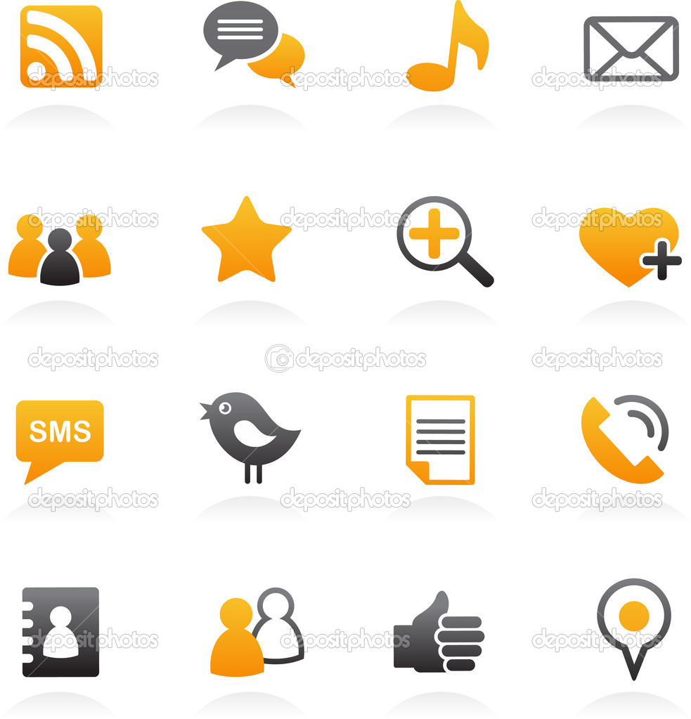 Social media icons orange set, vector illustration — Stock Vector #5718851