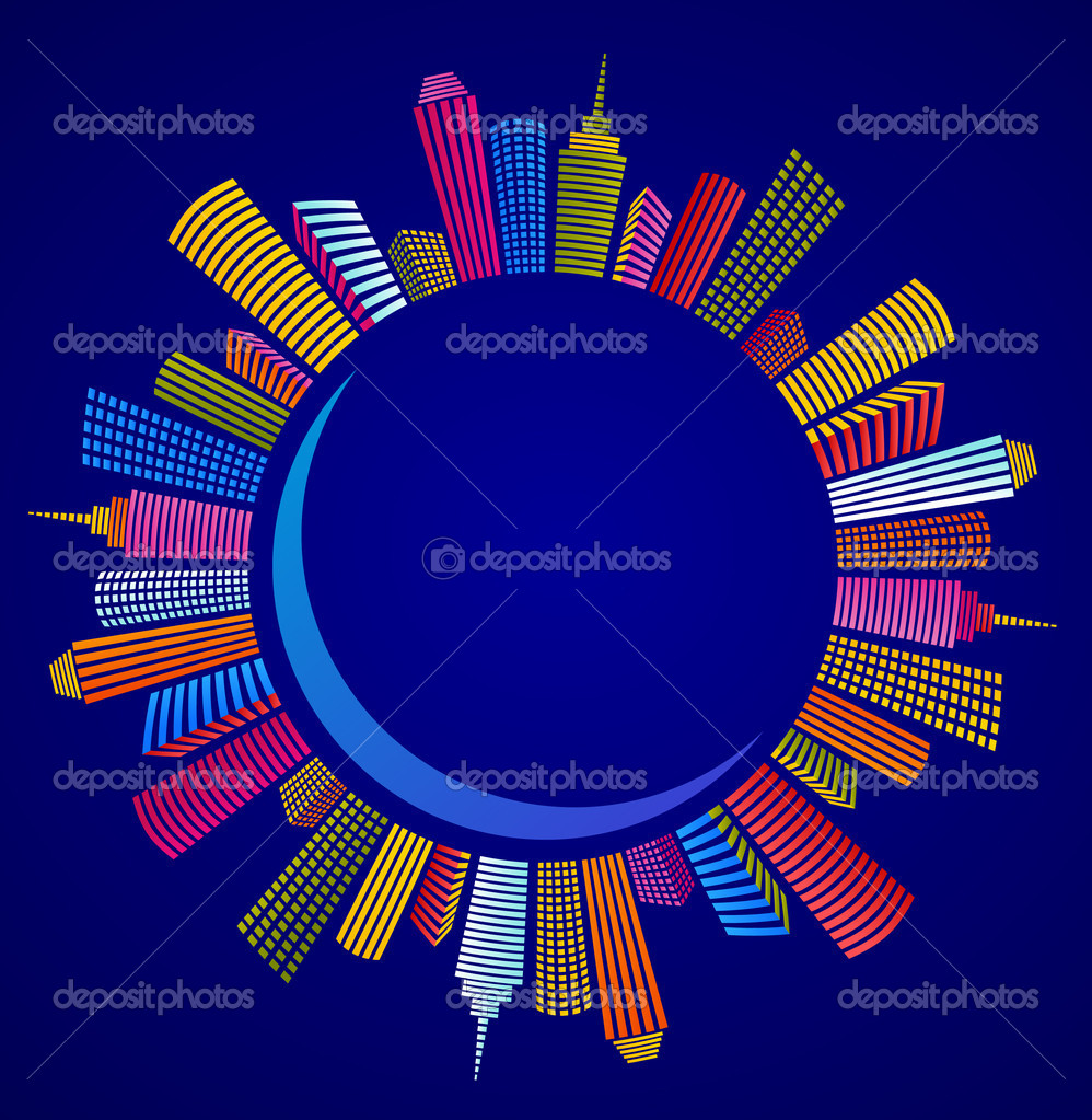 Panorama of night blue circle city, vector illustration — Stock Vector #5719363