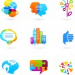 Social network icons and graphic elements — Imagens vectoriais em stock