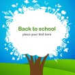 Back to school - tree with education icons — Vettoriali Stock