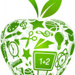Back to school - apple with education icons — Vector de stock #5989245
