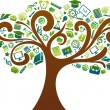 Royalty-Free Stock Imagem Vetorial: Back to school - tree with education icons