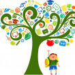 Back to school - tree with education icons — Stockvectorbeeld