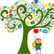 Back to school - tree with education icons - Stok Vektör