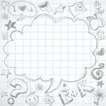 Retour à l'école - notebook avec doodles — Vecteur