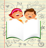 Back to school - kids with an open book — Stock Vector