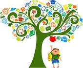 Regreso a la escuela - árbol con iconos de educación — Vector de stock