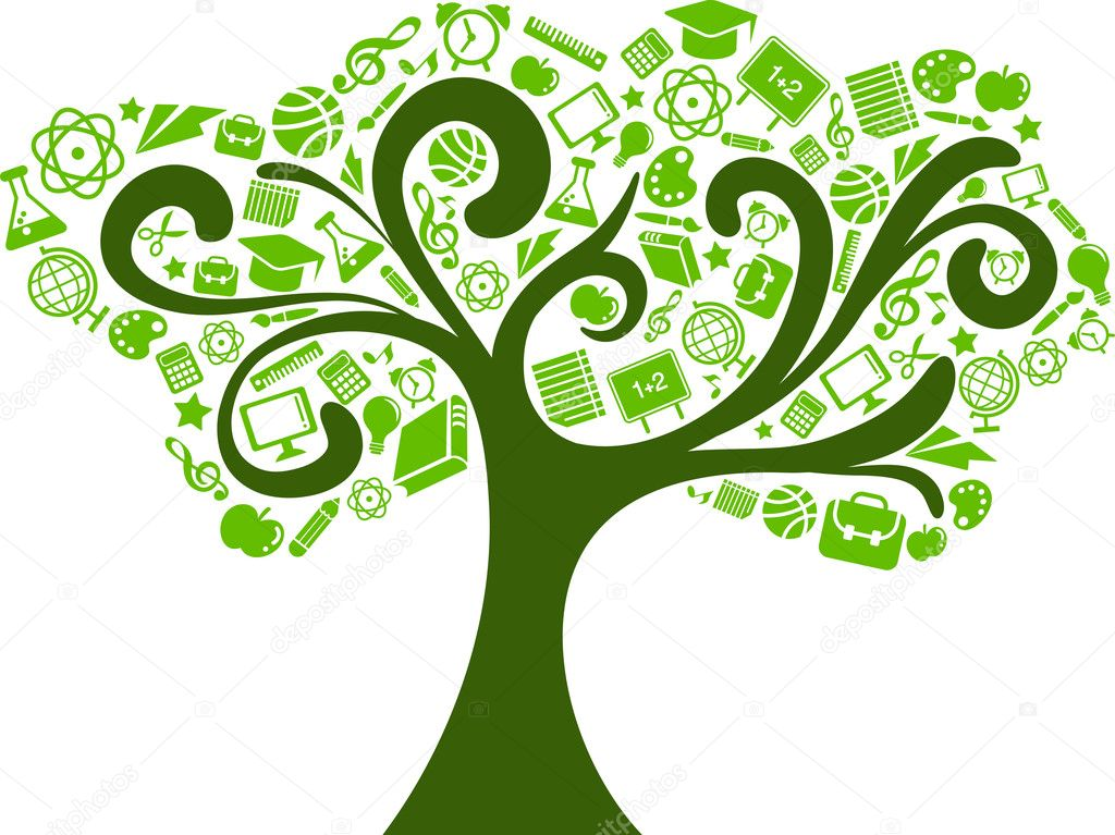 Back to school - tree with education icons, vector — Stock Vector #5989284
